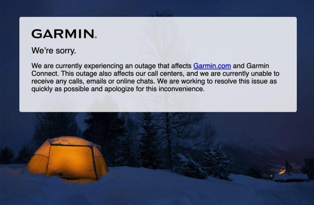 Garmin ist seit Tagen offline